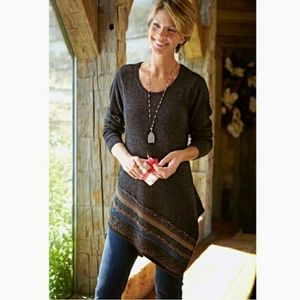 Soft surroundings raku asymetrical tunic sweater